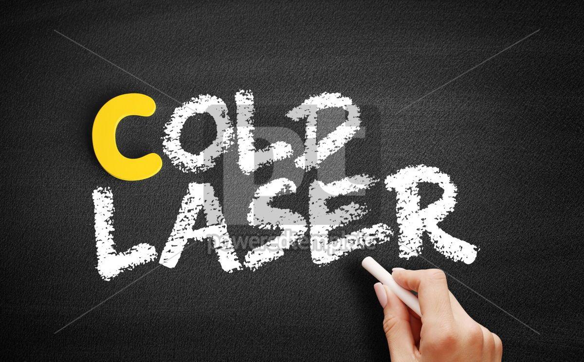 Cold laser text on blackboard, 00427, Business — PoweredTemplate.com