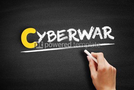 Business: Cyberwar text on blackboard #00436