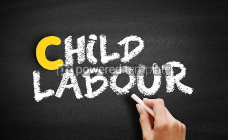 Business: Child labour text on blackboard #00444