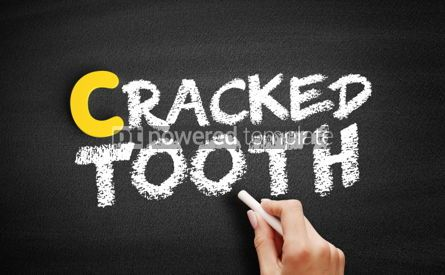 Business: Cracked tooth text on blackboard #00451