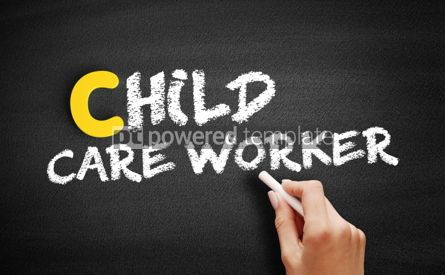 Business: Child care worker text on blackboard #00456