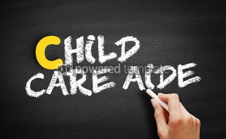 Business: Child care aide text on blackboard #00457