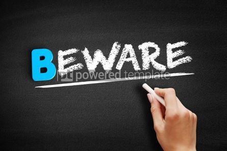 Business: Beware text on blackboard #00480