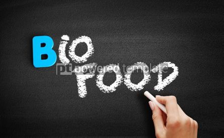 Business: Bio food text on blackboard #00481