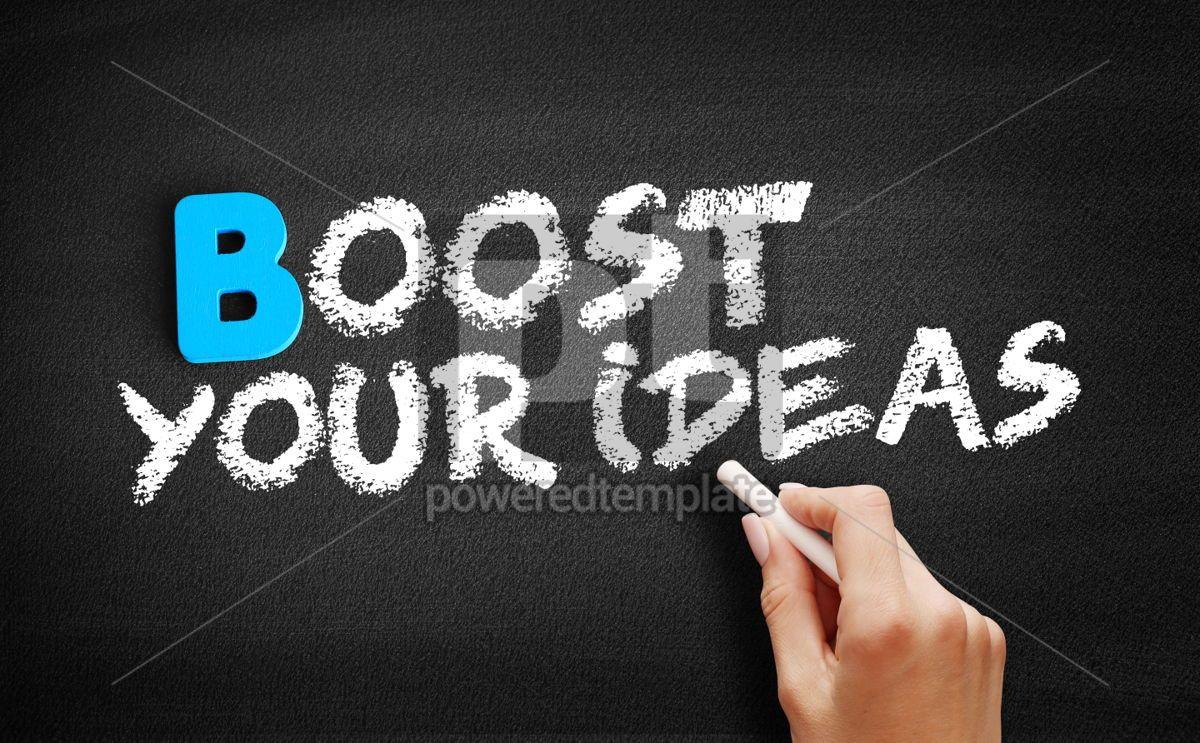 Boost Your Ideas text on blackboard, 00493, Business — PoweredTemplate.com