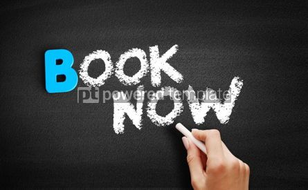 Business: Book Now text on blackboard #00510
