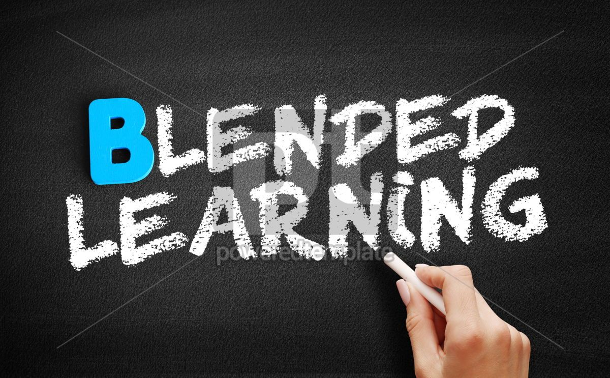 Blended Learning text on blackboard, 00519, Business — PoweredTemplate.com