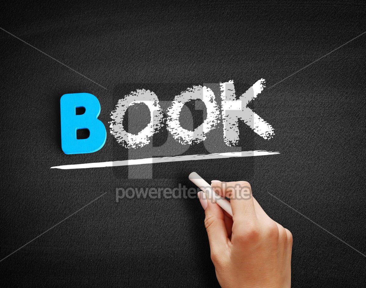 Book text on blackboard, 00520, Business — PoweredTemplate.com