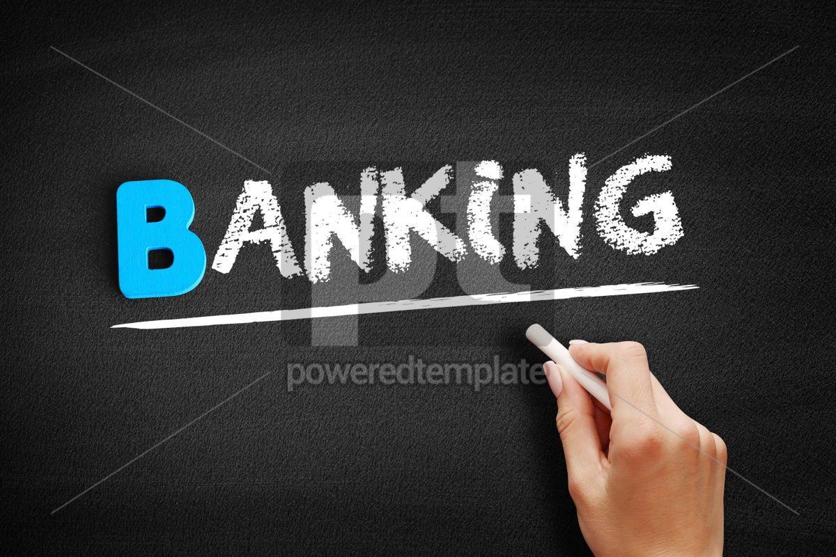 Banking text on blackboard, 00526, Business — PoweredTemplate.com