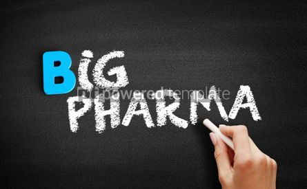 Business: Big pharma text on blackboard #00544