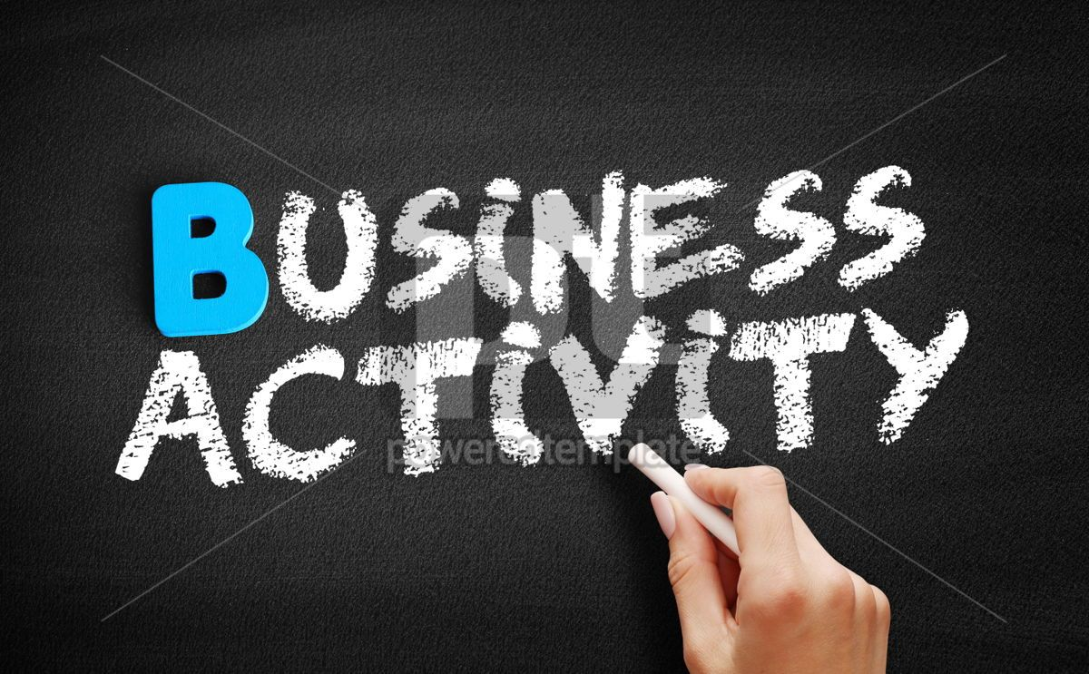 Business activity text on blackboard, 00547, Business — PoweredTemplate.com