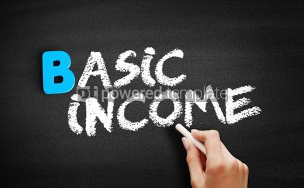 Business: Basic income text on blackboard #00548
