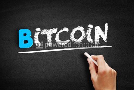 Business: Bitcoin text on blackboard #00555