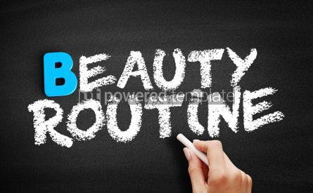 Business: Beauty routine text on blackboard #00563