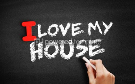 Business: I love my house text on blackboard #00596
