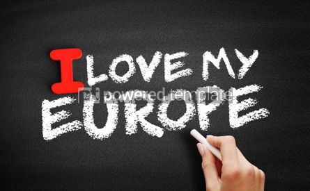 Business: I Love Europe text on blackboard #00620