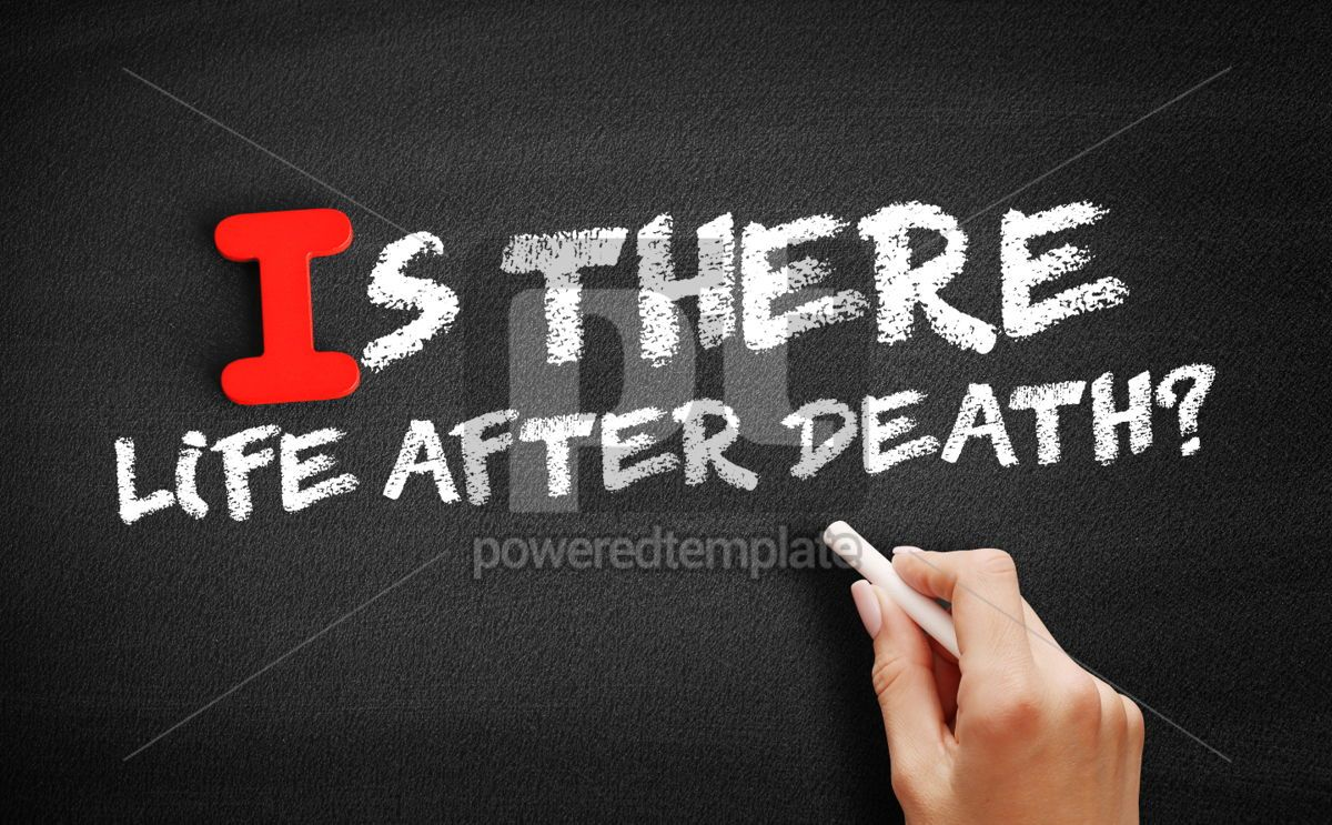 Is There Life After Death text on blackboard, 00634, Business — PoweredTemplate.com