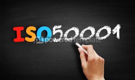 Business: ISO 50001 standard text on blackboard #00639