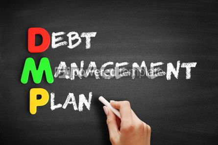 Business: Debt Management Plan acronym on blackboard #00640