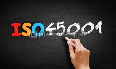 Business: ISO 45001 standard text on blackboard #00641