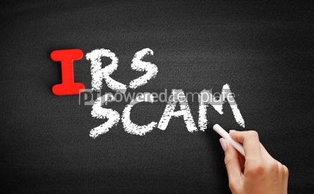 Business: IRS Scam text on blackboard #00649