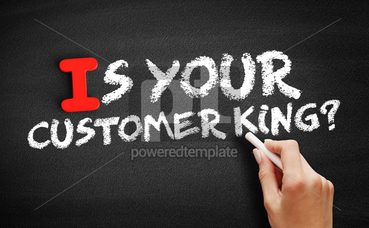 Is Your Customer King text on blackboard, 00650, Business — PoweredTemplate.com
