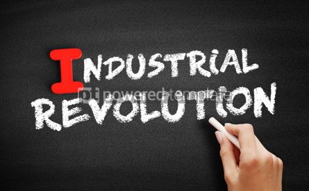 Business: Industrial revolution text on blackboard #00662