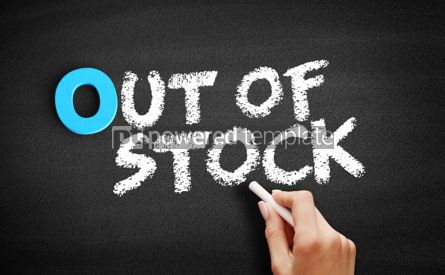 Business: Out Of Stock text on blackboard #00714