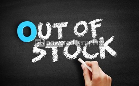Business: Out Of Stock text on blackboard #00717