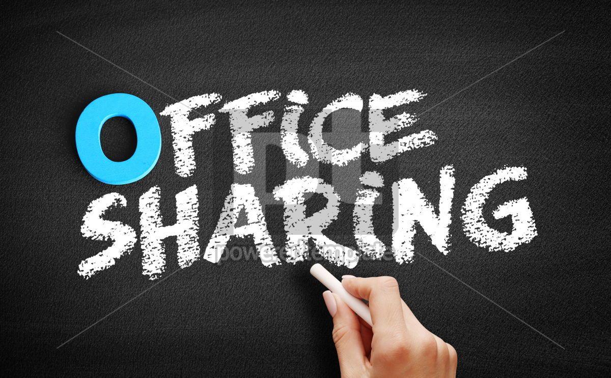 Office sharing text on blackboard, 00723, Business — PoweredTemplate.com