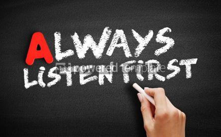 Business: Always Listen First text on blackboard #00741