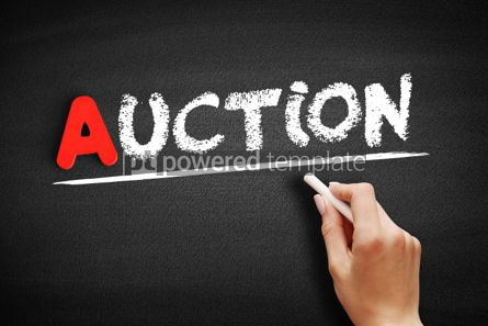 Business: Auction text on blackboard #00748