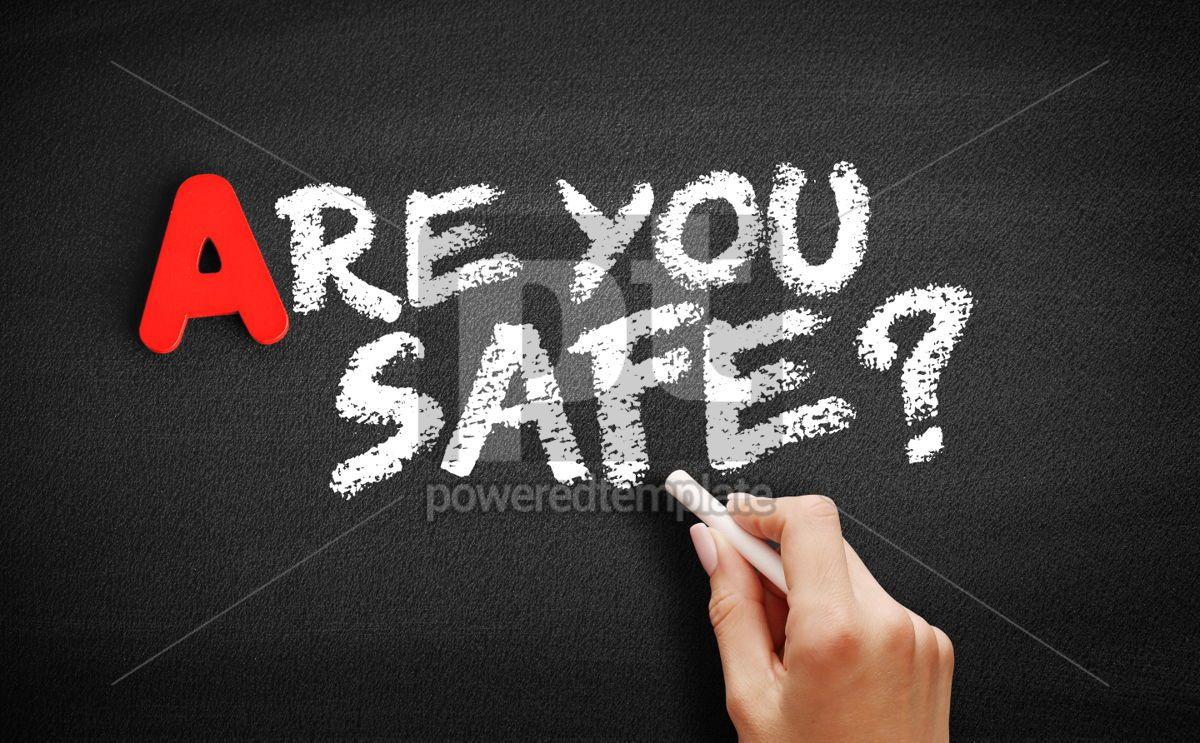 Are You safe text on blackboard, 00752, Business — PoweredTemplate.com