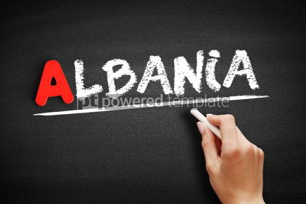 Business: Albania text on blackboard #00754