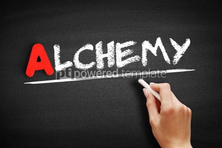 Business: Alchemy text on blackboard #00780
