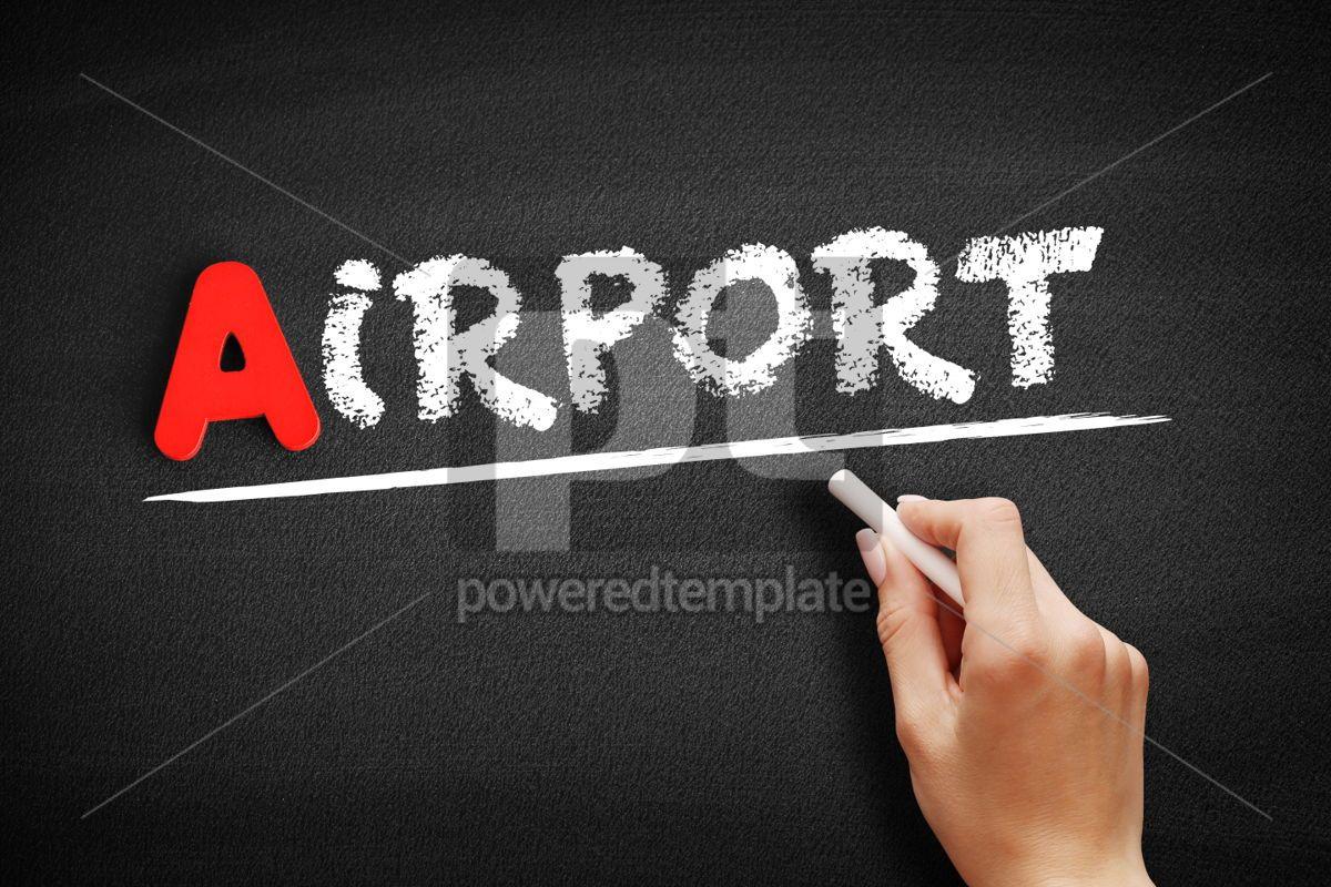 Airport text on blackboard, 00801, Business — PoweredTemplate.com