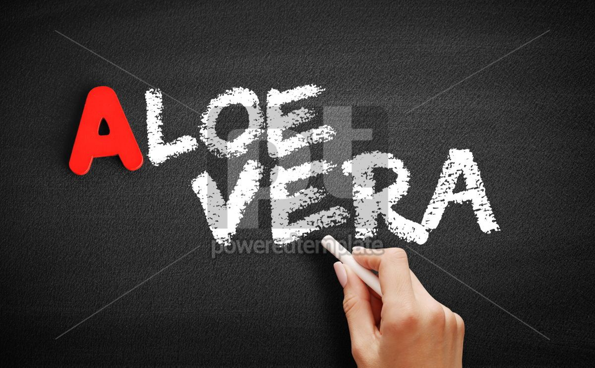Aloe vera text on blackboard, 00806, Business — PoweredTemplate.com