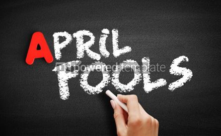 Business: April fools text on blackboard #00809