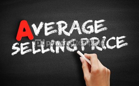 Business: Average Selling Price text on blackboard #00814