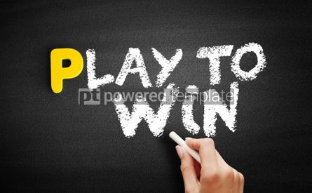 Business: Play to Win text on blackboard #00828