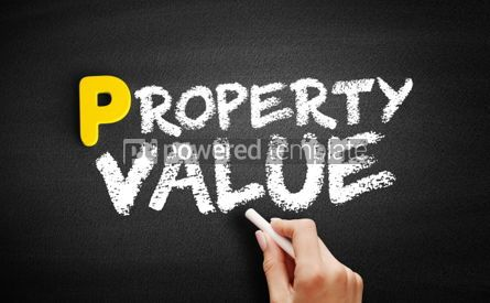 Business: Property Value text on blackboard #00831