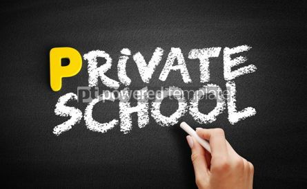 Business: Private School text on blackboard #00837
