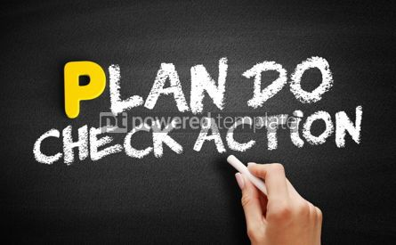 Business: Plan Do Check Action text on blackboard #00839