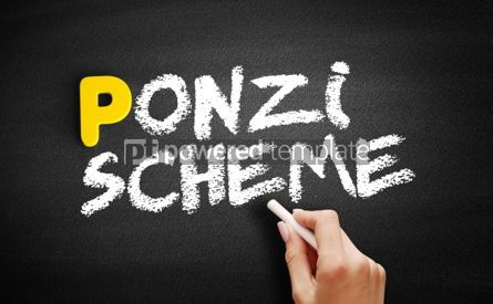 Business: Ponzi scheme text on blackboard #00845
