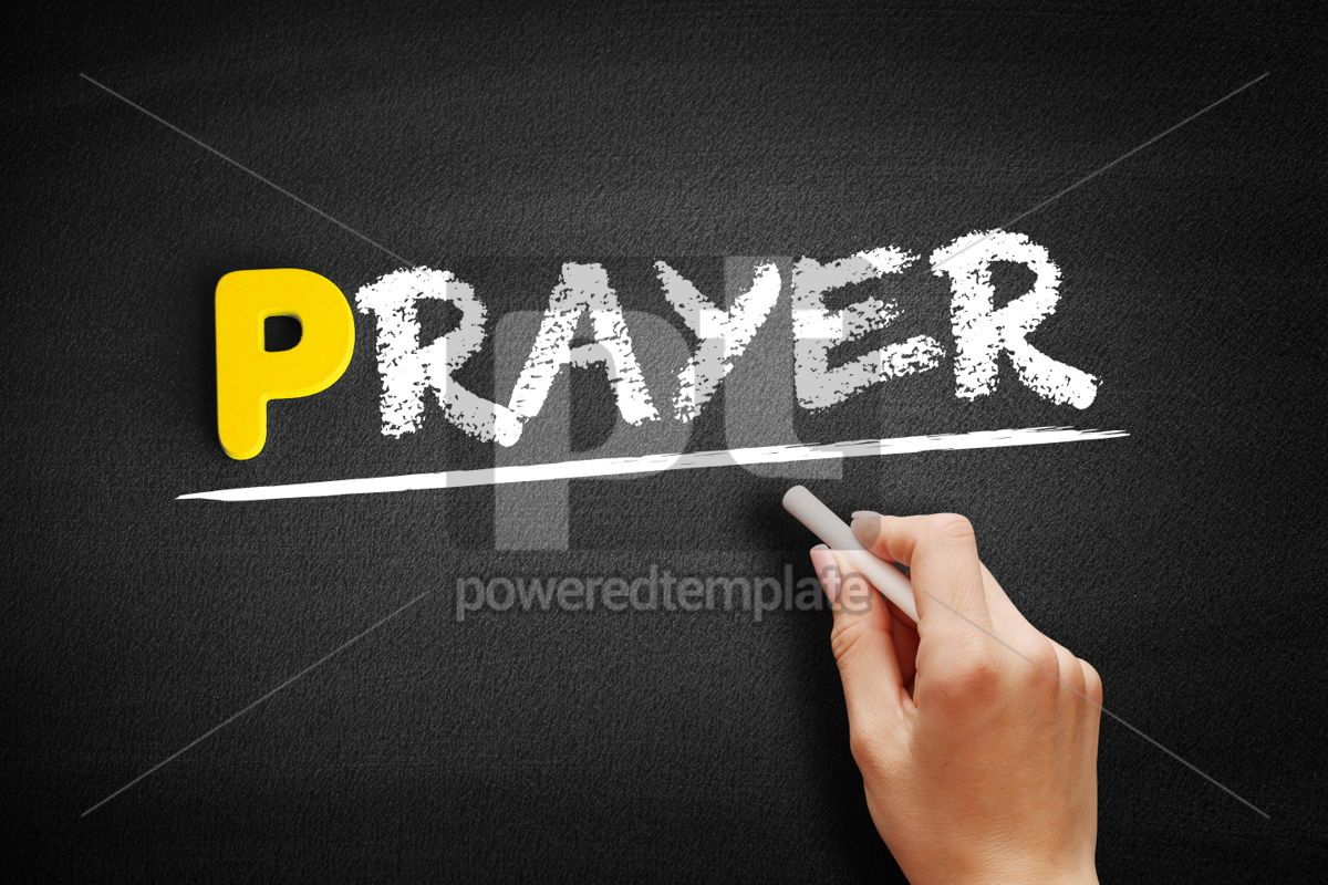 Prayer text on blackboard, 00854, Business — PoweredTemplate.com