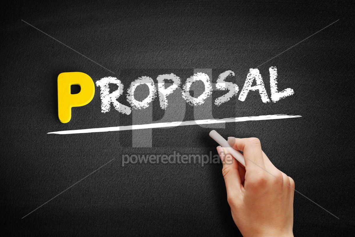 Proposal text on blackboard, 00856, Business — PoweredTemplate.com
