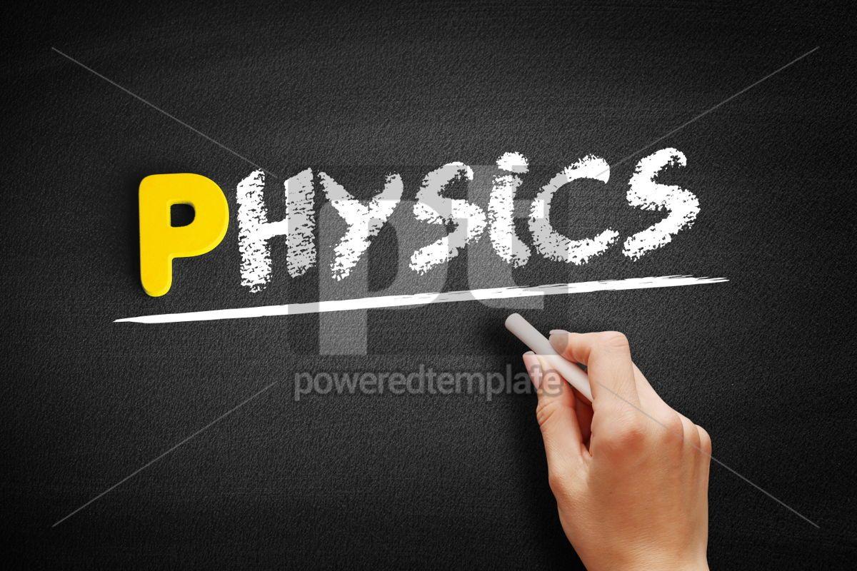 Physics text on blackboard, 00857, Business — PoweredTemplate.com