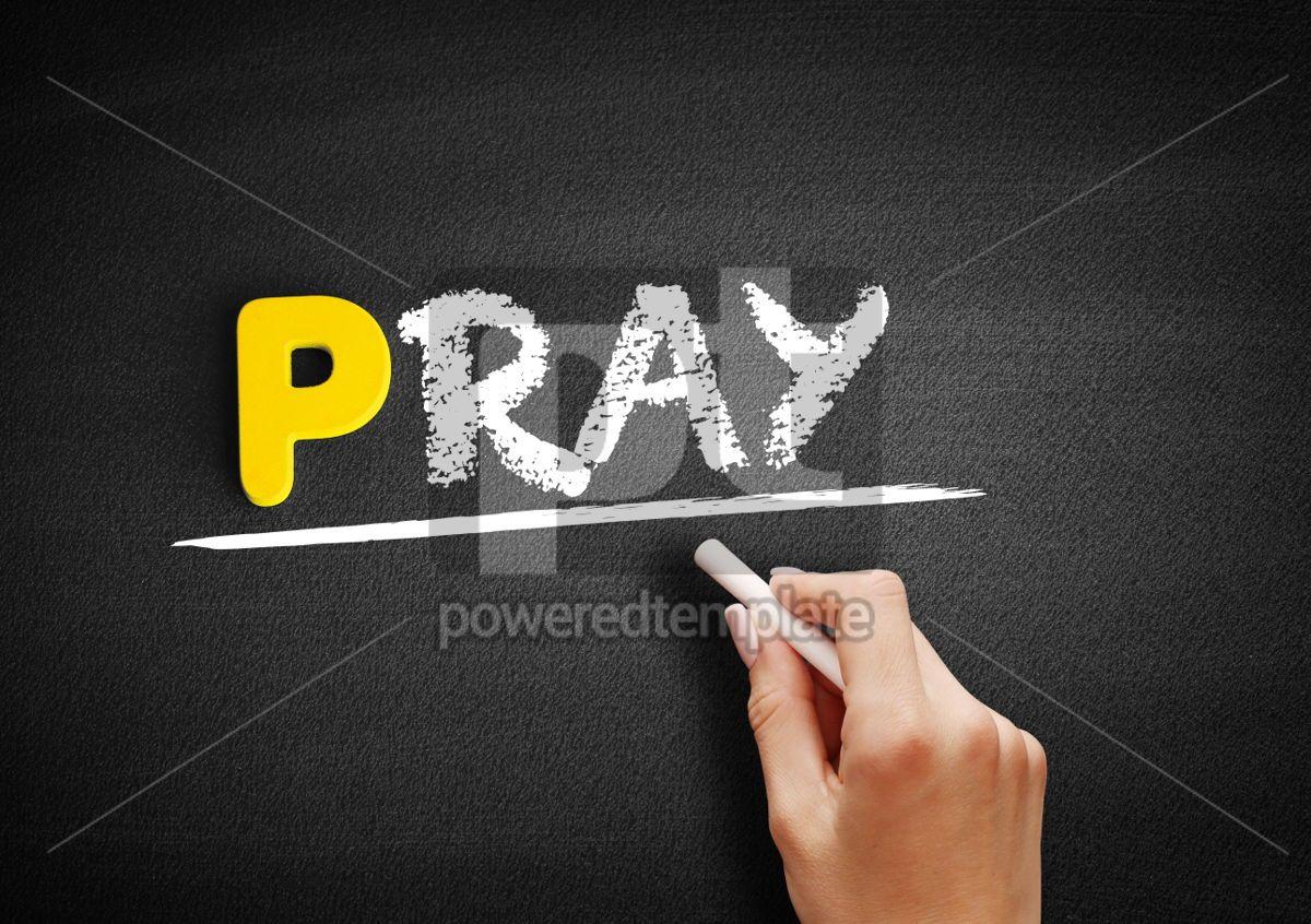 PRAY text on blackboard, 00866, Business — PoweredTemplate.com
