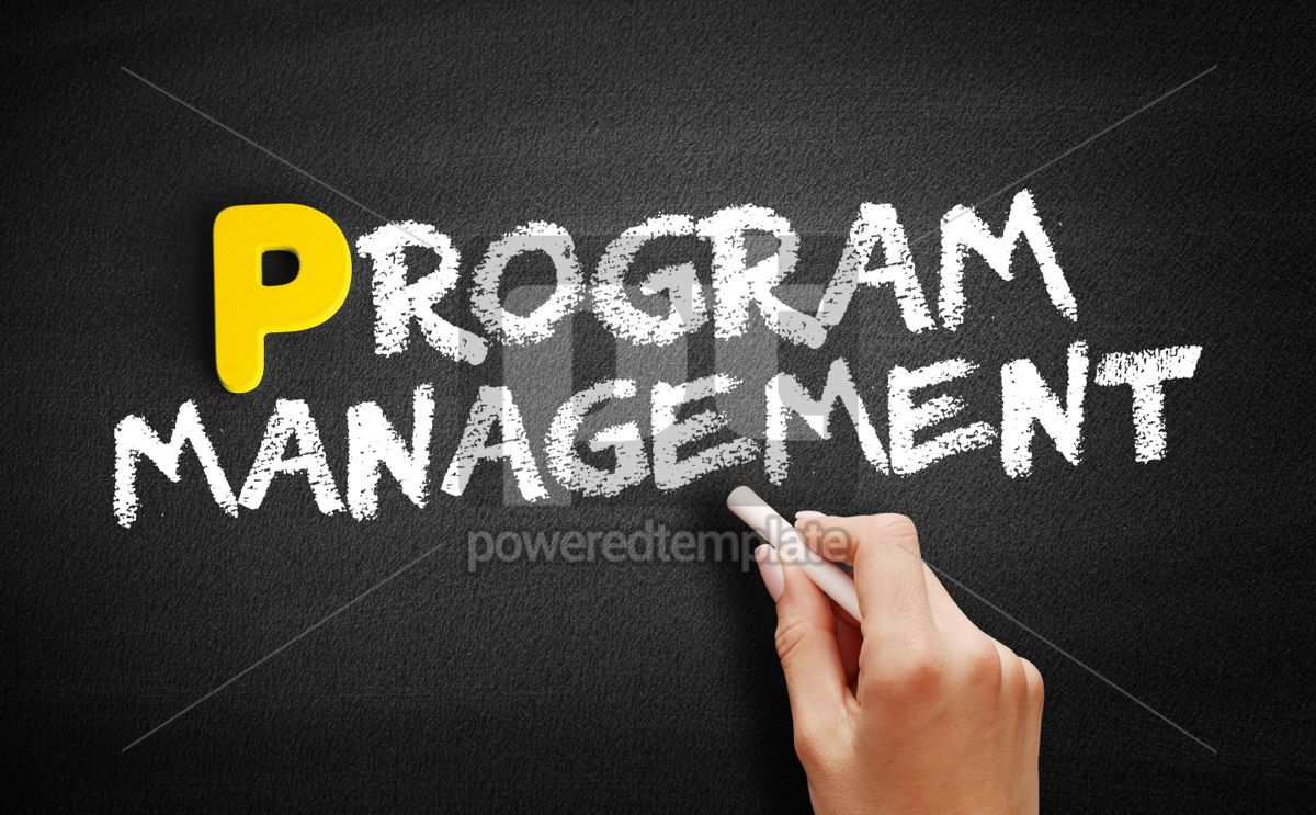 Program Management text on blackboard, 00868, Business — PoweredTemplate.com
