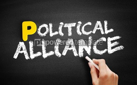 Business: Political alliance text on blackboard #00871